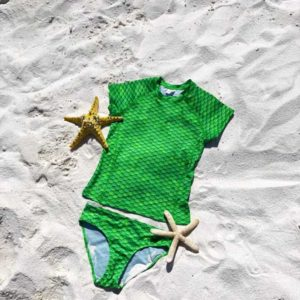 Green Scale Short Sleeves Tankini