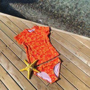 Orange Scale Short Sleeves Tankini