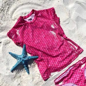 Pink Scale Short Sleeves Tankini