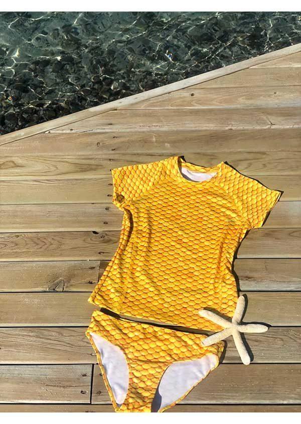 Yellow Scale Short Sleeves Tankini